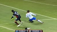 Jeronimo Amione scores in the match Puebla vs Zacatecas Mineros