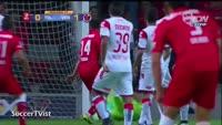 Felipe Flores scores in the match Toluca vs Veracruz