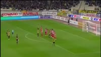 Astrit Ajdarevic scores in the match AEK vs Olympiakos Piraeus