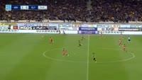 Alberto Botia receives a red card in the match AEK vs Olympiakos Piraeus