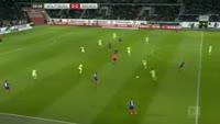 Serge Gnabry scores in the match Wolfsburg vs Werder Bremen