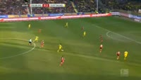 Pierre-Emerick Aubameyang scores in the match Freiburg vs Dortmund
