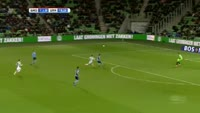 Brian Linssen scores in the match Groningen vs Utrecht