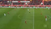 Andre Hahn scores in the match Ingolstadt vs B. Monchengladbach
