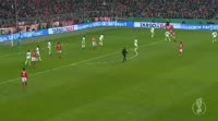 Douglas Costa scores in the match Bayern Munich vs Wolfsburg