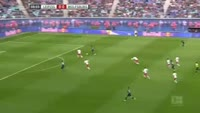 Mario Gomez scores in the match RB Leipzig vs Wolfsburg