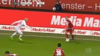 Dario Lezcano scores in the match Ingolstadt vs Koln