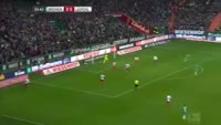 Zlatko Junuzovic scores in the match Werder Bremen vs RB Leipzig