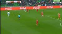 Wilfried Zaha scores in the match Russia vs Ivory Coast