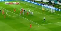 Viktor Vasin scores in the match Russia vs Belgium