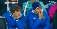 Christian Benteke scores in the match Russia vs Belgium