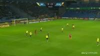 Ernest Asante scores in the match Brondby vs Nordsjaelland
