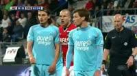 Joachim Andersen scores in the match AZ Alkmaar vs Twente