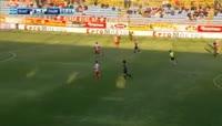 Djalma Campos scores in the match Platanias FC vs PAOK