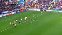 Aleksey Berezutski scores in the match CSKA Moscow vs Spartak Moscow