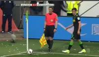 Jannik Vestergaard scores in the match Wolfsburg vs B. Monchengladbach