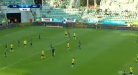 Dawid Soldecki scores in the match Slask Wroclaw vs Arka Gdynia
