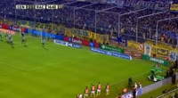 Washington Camacho scores in the match Rosario Central vs Racing Club
