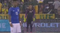 Diego Souza scores in the match Australia vs Brazil