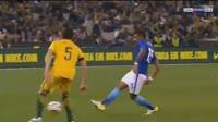 Thiago Silva scores in the match Australia vs Brazil