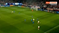 Patryk Lipski scores in the match Poland U21 vs Slovakia U21
