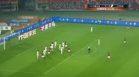 Stephane Mbia scores in the match Hebei China Fortune vs Tianjin Quanjian