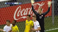 Une Jacob Larsson scores in the match Poland U21 vs Sweden U21