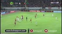 Fabrice N'Guessi Ondama scores in the match Wydad vs Al Ahly