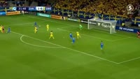 Jaroslav Mihalik scores in the match Slovakia U21 vs Sweden U21