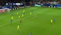 Lubomir Satka scores in the match Slovakia U21 vs Sweden U21