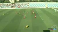 Omar Kossoko scores in the match Partizani vs Botev Plovdiv