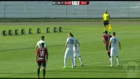 Besart Ibraimi scores in the match Shkendija Tetovo vs Dacia Chisinau
