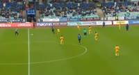 Tonny Brochmann scores in the match Stabaek vs Lillestrom