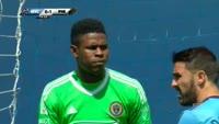 Maxime Chanot scores in the match New York City vs Philadelphia Union