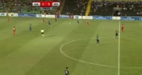 Vadim Rata receives a yellow card in the match Zaria Balti vs Apollon Limassol