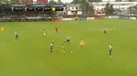 Dor Peretz scores in the match KR Reykjavik vs Maccabi Tel Aviv