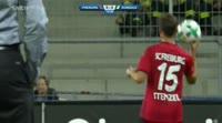 Nils Petersen scores in the match Freiburg vs Domzale