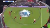 Nicolai Jorgensen scores in the match Feyenoord vs Real Sociedad