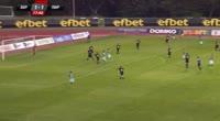 Anton Kostadinov receives a yellow card in the match Beroe vs Pirin Blagoevgrad