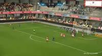Davit Skhirtladze scores in the match Silkeborg vs Helsingor