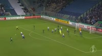 Tobias Schwede scores in the match Magdeburg vs Augsburg