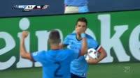 David Villa scores in the match New York City vs New England Revolution
