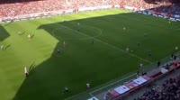 Steven Skrzybski scores in the match Union Berlin vs Holstein Kiel