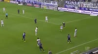 Marcel Sobottka scores in the match Aue vs Dusseldorf
