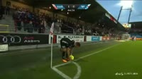 Jens Martin Gammelby scores in the match Aalborg vs Silkeborg