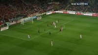 Milan Skoda scores in the match Slavia Prague vs Sparta Prague