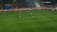 Nhamoinesu Costa receives a yellow card in the match Slavia Prague vs Sparta Prague