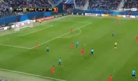 Emiliano Rigoni scores in the match Zenit Petersburg vs Real Sociedad
