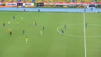 Willian Borges scores in the match Colombia vs Brazil