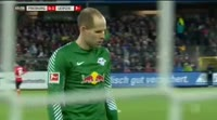 Timo Werner scores in the match Freiburg vs RB Leipzig